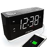 iTOMA Alarm Clock Radio, Digital FM Radio, Dual Alarm, Cell Phone USB Charge Port, Night Light, Auto & Manual Dimmer, Snooze, Sleep Timer, AUX-IN, Backup Battery (CKS507)