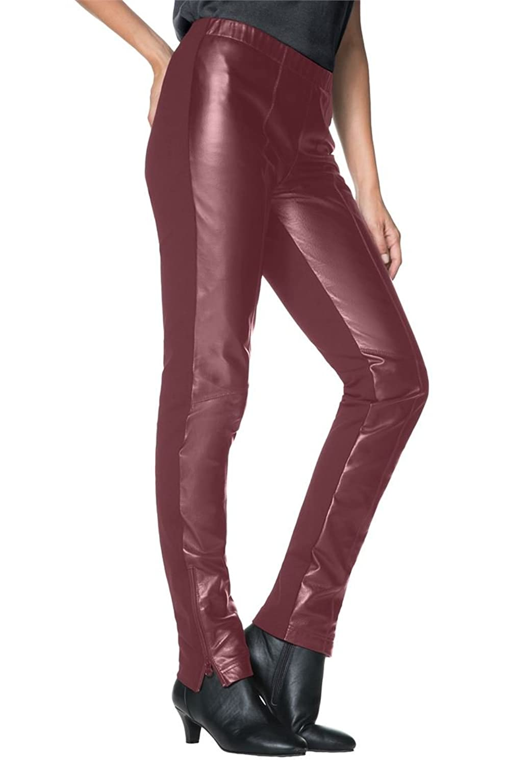 Jessica London Women's Plus Size Ankle Zip Leather And Ponte Jeggings Raisin,22