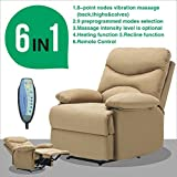 Mecor Heated Vibrating Massage Recliner Chair Microfiber Sofa Ergonomic Lounge 8 Point Massage with Remote Living Room (Light Brown)