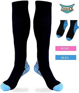 ZSZBACE Chaussettes de Compression gradués de (1 Paire), excellents pour améliorer Les Performances Sportives, idéals pour la Course, l'Endurance, Le Basketball, Le Football.