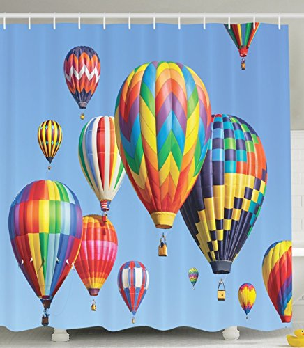 Hot Air Balloon Packages - Dream Shower Curtain, Balloon Shower Curtain, Secure Hot Colorful Air Balloons Shower Curtain