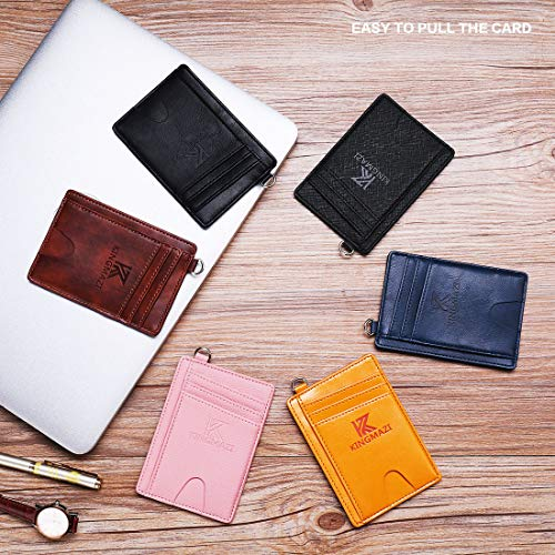Slim Minimalist Front Pocket RFID Blocking Wallets Credit Card Holder with DShackle for Men Women