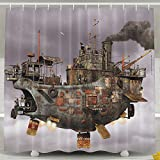 MdsdWXza Steampunk Airship Fashion Shower Curtain Deluxe Waterproof Bath Curtain