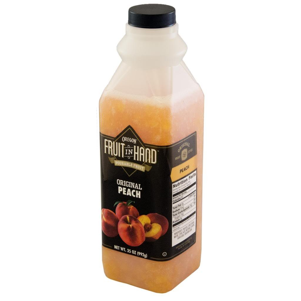 Fruit In Hand Peach Pourable Fruit Puree, 35 Ounce - 6 per case.