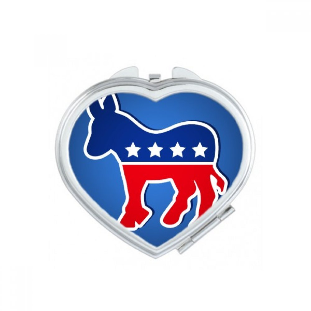America The United States Donkey Emblem Democratic Party Heart Compact Makeup Pocket Mirror Portable Cute Small Hand Mirrors Gift