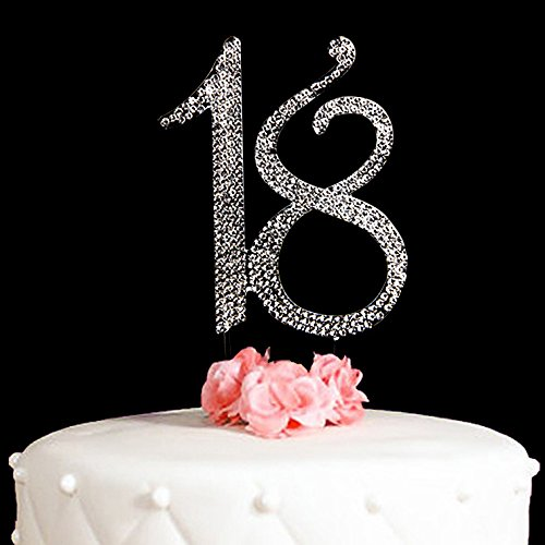 18 Cake Topper For 18Years Birthday Or 18TH Wedding Anniversary Silver Crystal Rhinestone Party Decoration