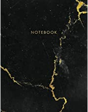 Notebook: Black Marble with Gold Inlay and Lettering - Marble & Gold Journal | 150 College-ruled Pages | 8.5 x 11 - A4 Size