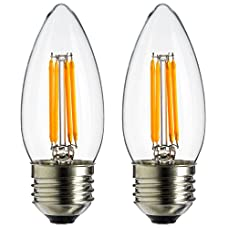 Sunlite ETC/LED/AQ/4W/E26/DIM/CL/27K 4W 120V LED Filament Antique Style Chandelier with Medium Base and 2700K 350 Lumen Dimmable Light Bulb (2-Pack), Warm White
