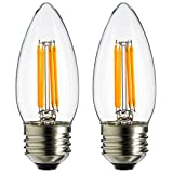 Sunlite 4W 120V LED Filament Antique Style Chandelier with Medium Base and 2700K 350 Lumen Dimmable Light Bulb (2-Pack), Warm White