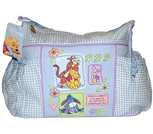 Large Disney Winnie the Pooh Baby Blue Gingham Diaper Bag