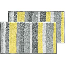 """mDesign Soft Microfiber Polyester Non-Slip Rectangular Spa Mat Rugs, Plush Water Absorbent, Striped Design - for Bathroom Vanity, Bathtub/Shower, Machine Washable - 34"""" x 21"""" - Pack of 2, Gray/Yellow"""