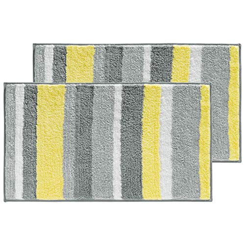 mDesign Soft Microfiber Polyester Non-Slip Rectangular Spa Mat Rugs, Plush Water Absorbent, Striped Design - for Bathroom Vanity, Bathtub/Shower, Machine Washable - 34 x 21 - Pack of 2, Gray/Yellow