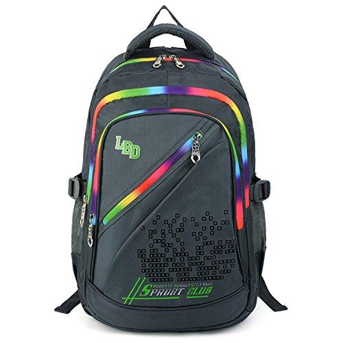 UTO Backpack Nylon Child Teenager Rucksack Primary Junior School Bookbag 520 Grey by UTO (Image #3)