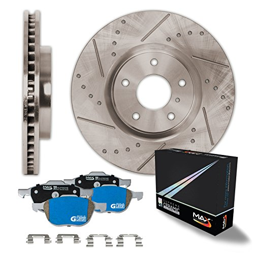 Chevy Tahoe Replacement Brake Rotor - Max Brakes Front Premium Slotted Drilled Rotors w/M1 Brake Pads Supreme Brake Kit KM015331 | Fits: 2008 08 Chevy Silverado 1500 2WD/4WD Models