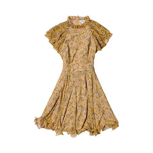 Dabuwawa Women Butterfly Sleeve Floral Dress Summer Elegant Ruffles A-line Fairy Dress (L) Yellow from Dabuwawa