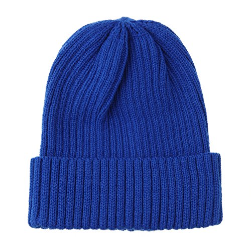 WITHMOONS Knitted Ribbed Beanie Hat Basic Plain Solid Watch Cap AC5846 (Blue)