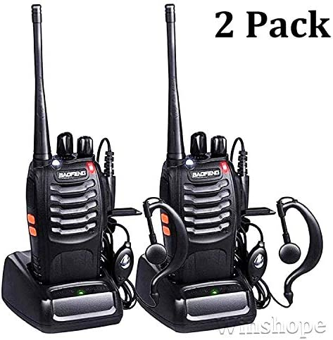 Baofeng BF-888s Walkie Talkies Long Range Radios with Earpiece Mic UHF Radios 5W Two Way Radio Handheld 2 Way Radio Ham Transceiver with Antenna Headsets Microphone 2 Pack