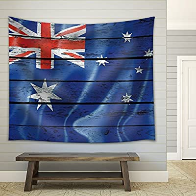 Australian Flag on a Wooden Background - Fabric Tapestry, Home Decor - 68x80 inches