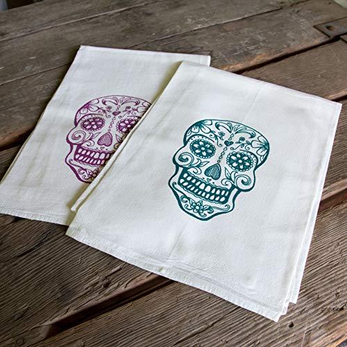 Sugar Skull Screen Printed Tea Towel, flour sack towel - Kitchen Plum Sugar