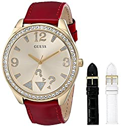 GUESS Women's U0352L4  Interchangeable Wardrobe Gold-Tone Watch Set with Genuine Leather Straps in Red, White & Black