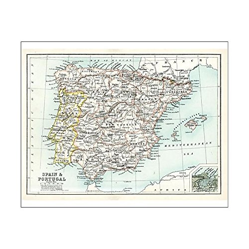 Media Storehouse 20x16 Print of Antique map of Spain and Portugal (15107377) ()
