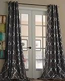Lambrequin Casablanca Modern Metallic Trellis Pattern Curtain Panel Platinum 54 x 108 108 Inches For Sale
