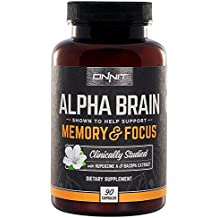 Onnit Alpha Brain: Clinically Studied Nootropic for Memory, Focus, and Mental Clarity (90ct)
