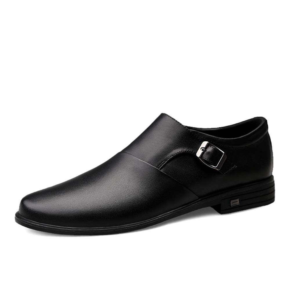 HONGkeke Mens Genuine Leather Business Loafer Casual Adjustable Buckle Slip-on Lined Oxford Dress Shoes Durable Color : Black, Size : 6.5 D US M