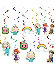 12PCS Hanging Swirls Ceiling Streamers Decorations for Cocomelon Theme Birthday Party Supplies Decoration Favors for Kids Boy