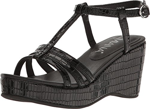 Price comparison product image Amiana Girl's 15-A5136 (Little Kid/Big Kid/Adult) Black Tile Patent Wedge