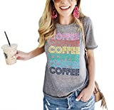 Coffee Shirt Women Coffee Coffee Coffee Letters Tshirt with Funny Sayings Casual Tee Tops Size S (Gery)