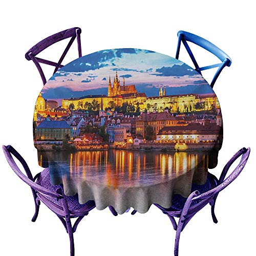 Waterproof Table Cover,Travel Evening in The Prague Czech Republic St.Vitus Cathedral Historical Architecture,High-end Durable Creative Home,40 INCH,Multicolor -