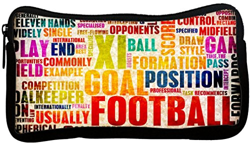 Rikki Knight Football & Soccer Words Design Neoprene Pencil Case Brown Football Collage