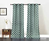Cheap Set of Two Window Curtain Panels: Teal with White Moroccan Trellis Design, 76″ x 84″, Free Wooden Hanger