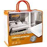 joluzzy Waterproof Mattress Protector - Cotton Terry Surface - Breathable - Noiseless - Hypoallergenic - Vinyl-Free - Fitted Sheet Mattress Cover, Queen Size