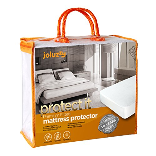 joluzzy Waterproof Mattress Protector - Cotton Terry Surface - Breathable - Noiseless - Hypoallergenic - Vinyl-Free - Fitted Sheet Mattress Cover, Twin-XL Size