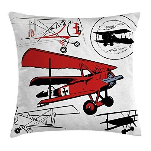 (Biekxrso Vintage Airplane Decor Throw Pillow Cushion Cover, Collection of Various Biplanes Nostalgic Antique Silhouettes, Decorative Square Pillow Case, 18 X 18 Inches, Red White Black )