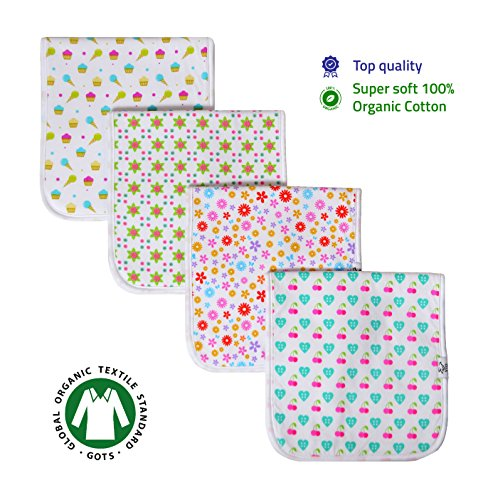 Baby Burp Cloths, Premium Quality, 4 Pack Exclusive Unisex Design, Large Size 21''x10'', 100% Organic Cotton, Thick & Absorbent, Triple Layer, Super Soft, Burping Rags for Newborns, Gift Set by Vio by Vio (Image #1)