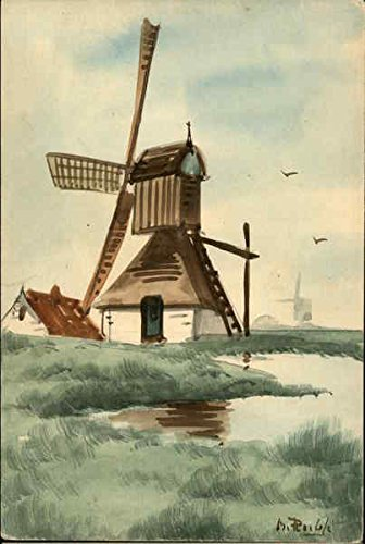 Watercolor of Windmill Hand Drawn Original Vintage - Windmill Watercolor