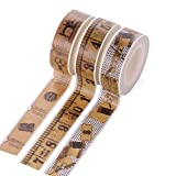 LAAT Retro Paper Tape Journal Album Decorative Stickers Glue Tape DIY and Gift Packaging Masking Tape Adhesive Tape -3 Rolls