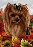 Cheap Yorkie Show Cut – Tamara Burnett Fall Leaves Large Flags