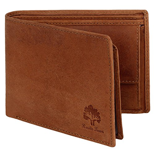 Handmade RFID Blocking Genuine Leather Bifold Zippered Wallets with Coin Pocket Designer Engraved Fashion with Card Pockets for Cash Bills By Rustic Town ~ Gift for Teen Boys Girls Men Women ( Tan (Designer Pocket)