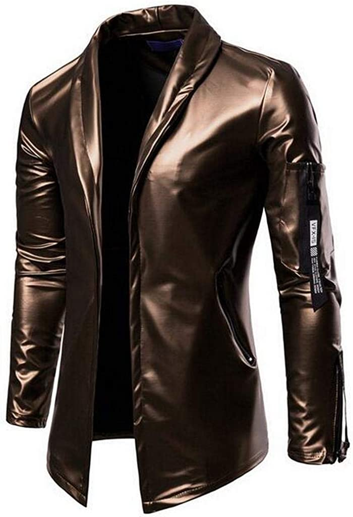 MMCP Mens Faux Leather Slim Fit Stretch Motorcycle Casual Business Blazer Jacket Coat