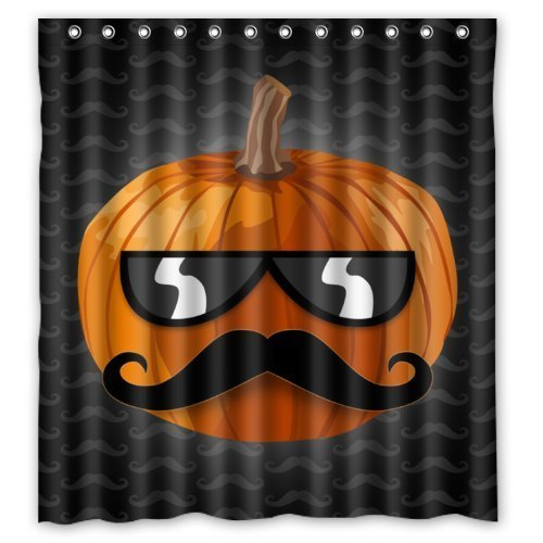 Friend Boat Window Curtain Polyester Funny Halloween Pumpkin With Mustache unglasses with Top Thermal Insulated Reflect Sunlights 1 Panel - Unglasses