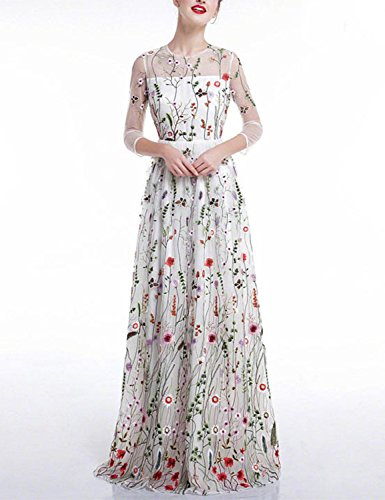 Dress Gown Embroidered Wedding (Vanial White Floral Embroidered Prom Wedding Dress Long Formal Party Gown)