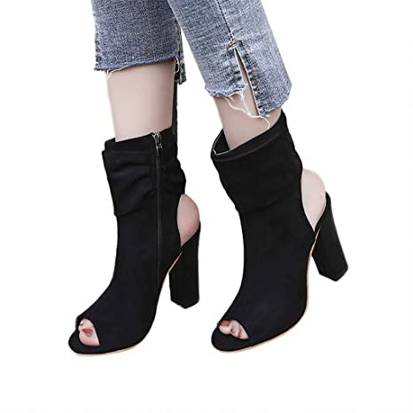 Amazon.com: Womens Buckle Strap Sandal Shoes Boots Square High Heel Fish Mouth High Top Roman Shoes Sexy Dress Sandals 5-9: Clothing