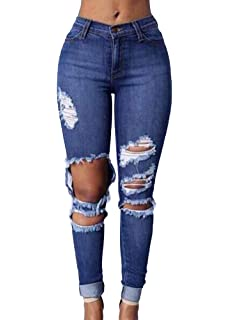 Romacci Damen Zerrissene Jeans Hohe Taille Löcher Funktionelle Taschen  Destroyed Skinny Jeans Blau 92cc7498b9