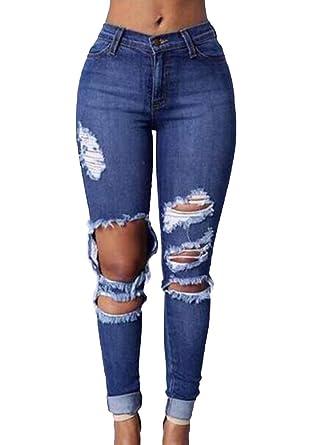 Hohe Funktionelle Romacci Zerrissene Jeans Taille Löcher Damen AjL54R3