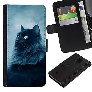 KLONGSHOP / Tirón de la caja Cartera de cuero con ranuras para tarjetas - Cat Furry Long Hair Grey Blue Eyes Feline - Samsung Galaxy S5 Mini, SM-G800, NOT S5 REGULAR!