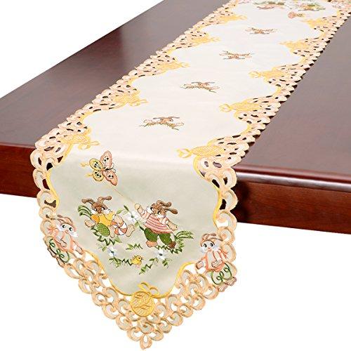 Grelucgo Beige Easter Bunny Table Linen, Runners 15x90 Inches (Easter Bunny Table Runner)